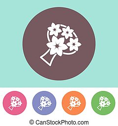 Wedding bouquet icon - Vector wedding bouquet icon on round...