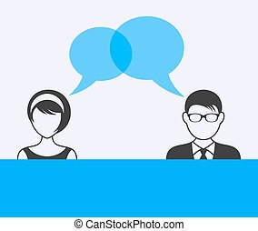 Man and woman dialog - Man and woman with dialog speech...