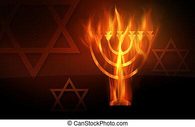 Hanukkah - The hot burning contour of a menorah