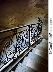 Handrail - Old wrought iron handrail inside a French mansion