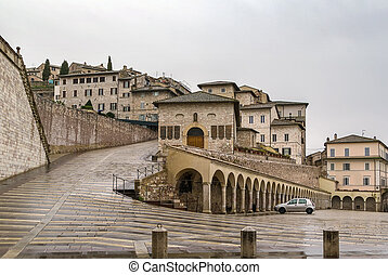 Assisi, Italy - square in front of the Basilica of St....