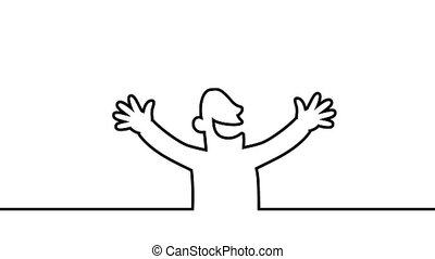 Happy person cheering. loopable line art animation with...