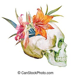 Watercolor skull with flowers - Beautiful vector image with...