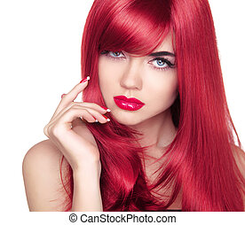 Beautiful attractive model portrait with long red hair. Blue eye