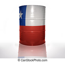 barrel with chilean flag