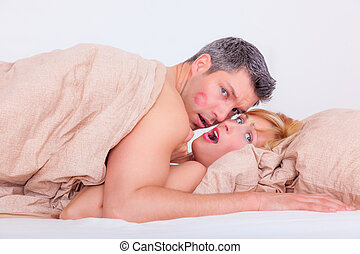 surprising - cheating lovers in hotel bed