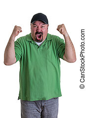 Man Wearing Green Shirt Celebrating - Overweight Man Wearing...