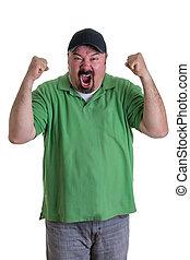 Man Wearing Green Shirt Celebrating - Overweight Man Wearing...
