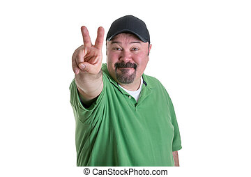 Man Giving Peace Sign Hand Gesture - Portrait of Overweight...