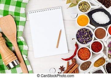 Various spices on white wooden background. Top view with...