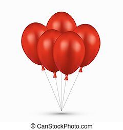 Vector modern red balloons on white