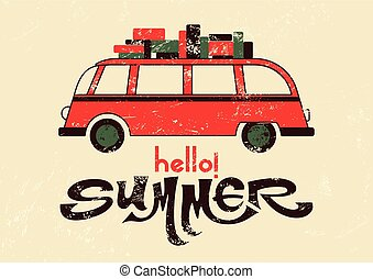 Summer retro grunge poster - Hello summer Typographic retro...