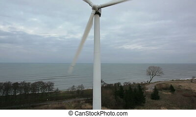 Wind energy turbine, aerial shot