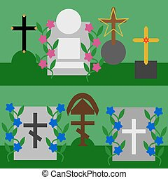 Collection of tombstones and crosses