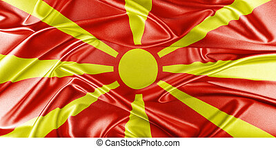 Macedonia Flag Flag with a beautiful glossy silk texture