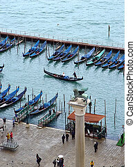 San Marco gondolas Venice, Italy - View of Venice laguna and...