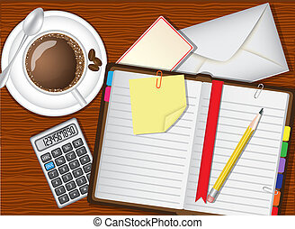 daily planner, coffee and stationer