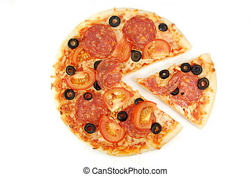Pizza - Pepperoni pizza with a slice on one side