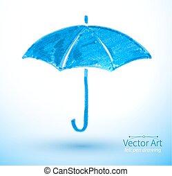 Umbrella. - Vector illustration of umbrella. Felt pen...