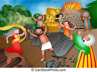 Moses and the Golden Calf - A cartoon biblical illustration...
