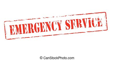 Emergrncy service - Rubber stamp with text emergency service...