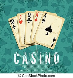 Vintage grunge style casino poster.