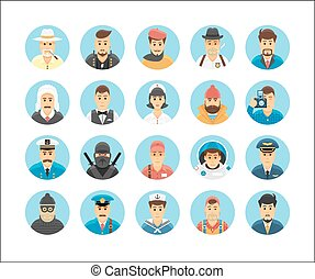 Persons icons collection Icons set illustrating people...