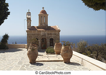 Seashore curch - Byzantine style Churchon a high seashore,...