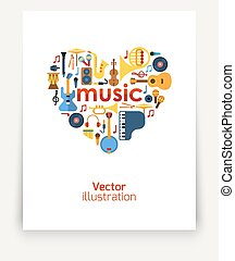 Music in the heart. Set of musical instruments laid out in...
