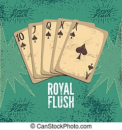 Vintage grunge style casino poster with playing cards. Royal...