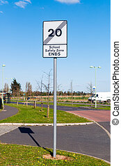 End of school safety zone Sign on blue background - End of...