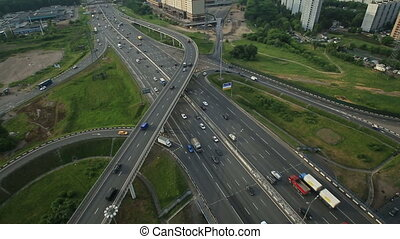 Aerial view of highway interchange in Moscow city, Russia