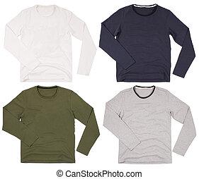 Set of men's shirts isolated on white background