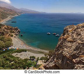 Crete palm beach - Preveli river, beach and palm wood,...