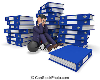 Businessman Overload Work Represents Overloading Burden And...