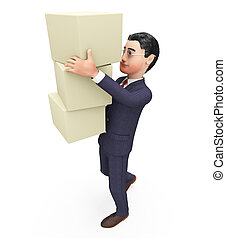 Businessman Carrying Boxes Means Commerce Case And Container...