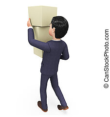Businessman Carrying Boxes Indicates Trade Product And...