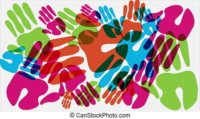 Hands animation - Colors hands, Video animation, HD 1080