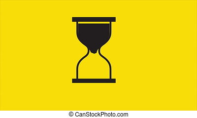 Time concept, animation - Sand clock on yellow background,...