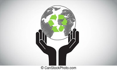 Recycle animation - Earth on hand Video animation, HD 1080