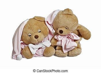 Soft teddy bear couple - Isolated teddy bear couple sitting...