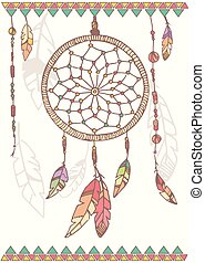 Hand drawn native american dream catcher, beads and...