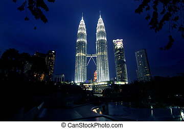 Petronas Twin Towers - Nightscene of the Petronas twin...
