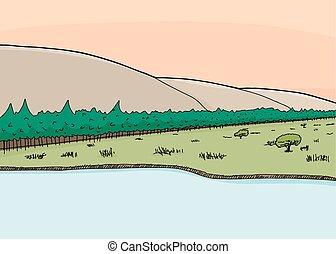 Sunrise Over Mountainside - Sunrise coming over hillside and...