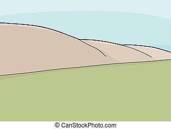 Grass and Hillside Scene - Hillside and grassland cartoon...
