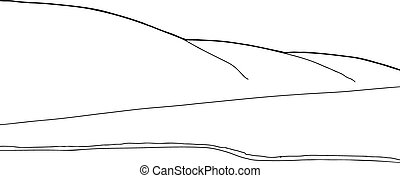 Lake Shore and Hills Outline - Outline drawing of lake...