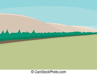 Abstract Forest and Mountains - Abstract illustration of...