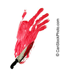 Bloody hand-print and knife - Bloody knife on bloody...