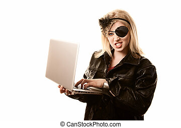 Internet Pirate - Internet pirate committing online fraud or...