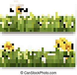 Two nature banners with colorful spring flowers with ladybug. Vector